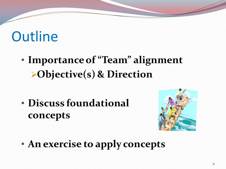 Outline Importance of Team alignment  Objective(s) & Direction Discuss foundational concepts An exercise to apply concepts 4