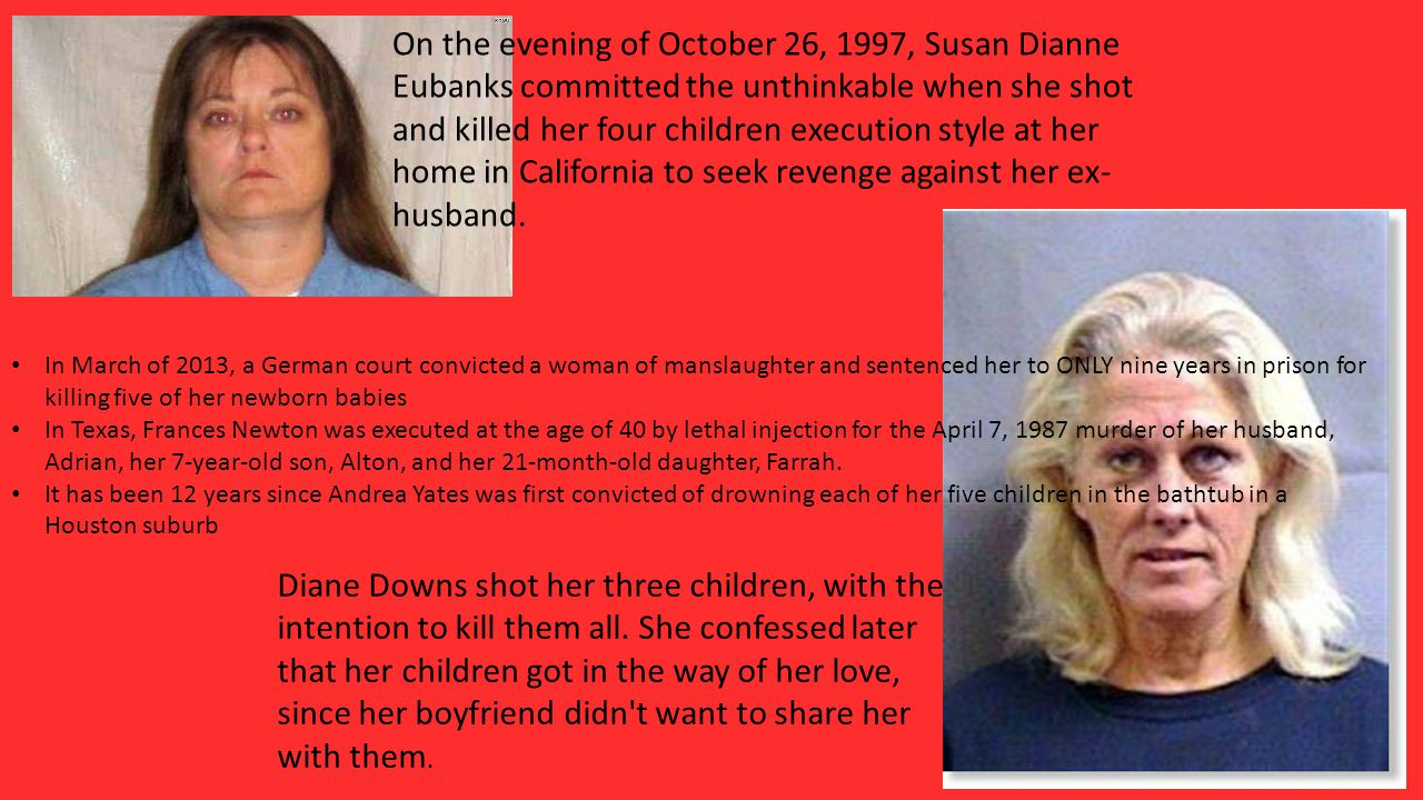 On the evening of October 26, 1997, Susan Dianne Eubanks committed the unthinkable when she shot and killed her four children execution style at her home in California to seek revenge against her ex- husband.