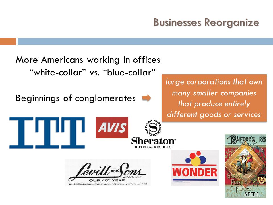 Businesses Reorganize More Americans working in offices white-collar vs.
