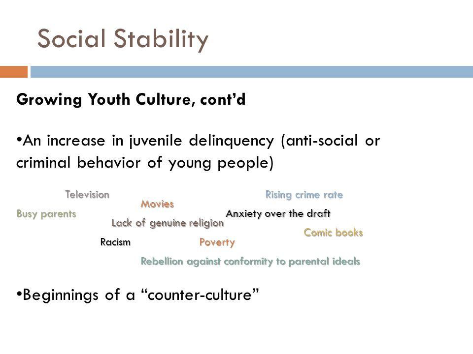 Social Stability Growing Youth Culture, cont'd An increase in juvenile delinquency (anti-social or criminal behavior of young people) Beginnings of a counter-culture Television Movies Comic books Racism Busy parents Rising crime rate Lack of genuine religion Anxiety over the draft Rebellion against conformity to parental ideals Poverty