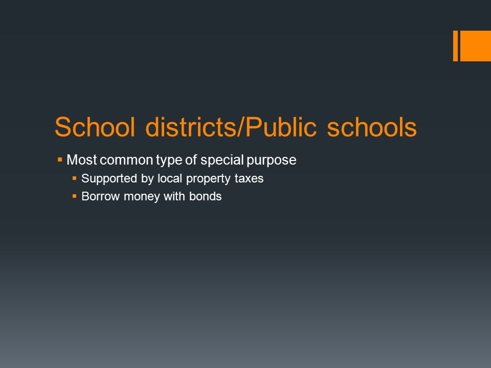 School districts/Public schools  Most common type of special purpose  Supported by local property taxes  Borrow money with bonds