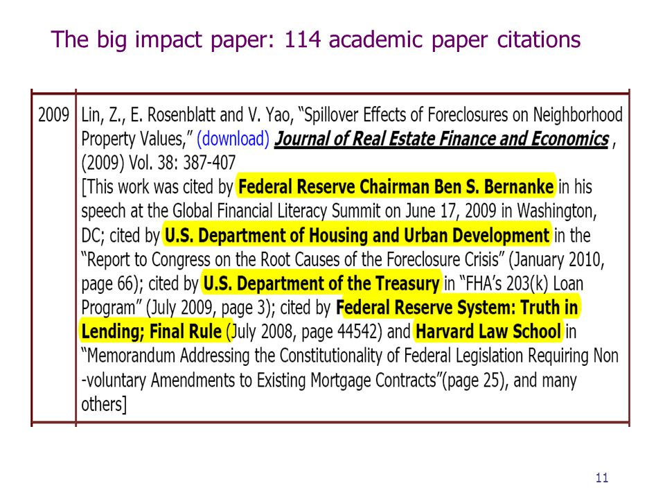 The big impact paper: 114 academic paper citations 11