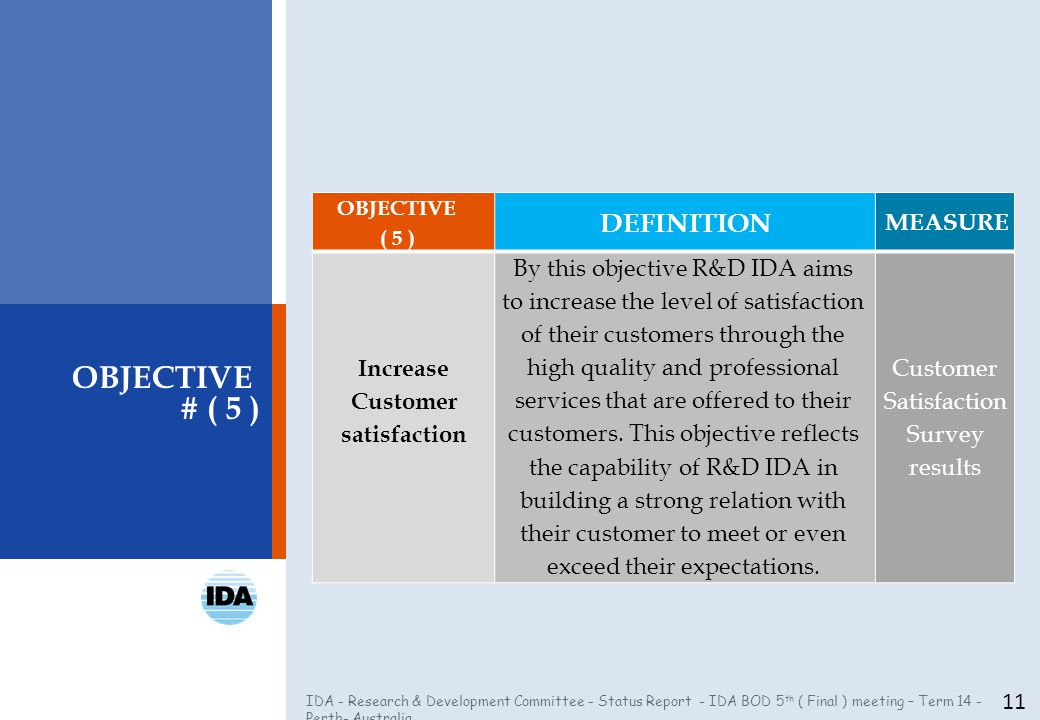 IDA - Research & Development Committee - Status Report - IDA BOD 5 th ( Final ) meeting – Term 14 - Perth- Australia 11 OBJECTIVE # ( 5 ) OBJECTIVE ( 5 ) DEFINITION MEASURE Increase Customer satisfaction By this objective R&D IDA aims to increase the level of satisfaction of their customers through the high quality and professional services that are offered to their customers.