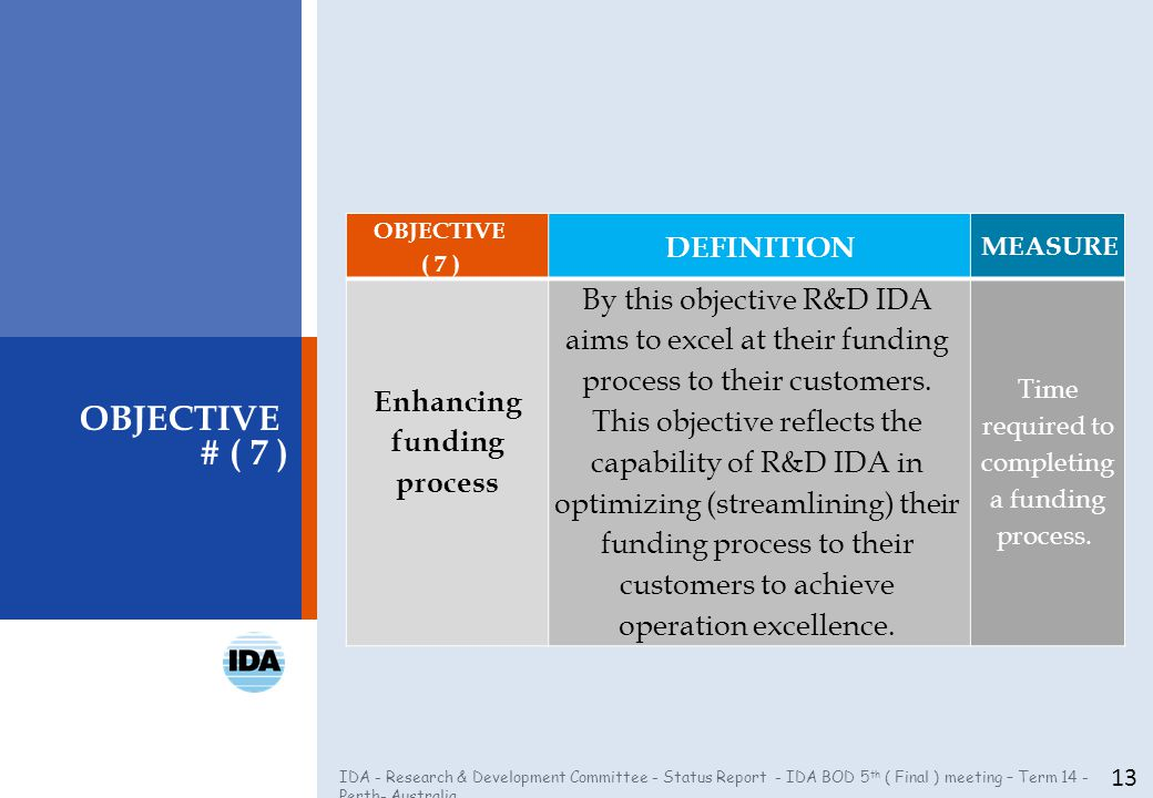 IDA - Research & Development Committee - Status Report - IDA BOD 5 th ( Final ) meeting – Term 14 - Perth- Australia 13 OBJECTIVE # ( 7 ) OBJECTIVE ( 7 ) DEFINITION MEASURE Enhancing funding process By this objective R&D IDA aims to excel at their funding process to their customers.