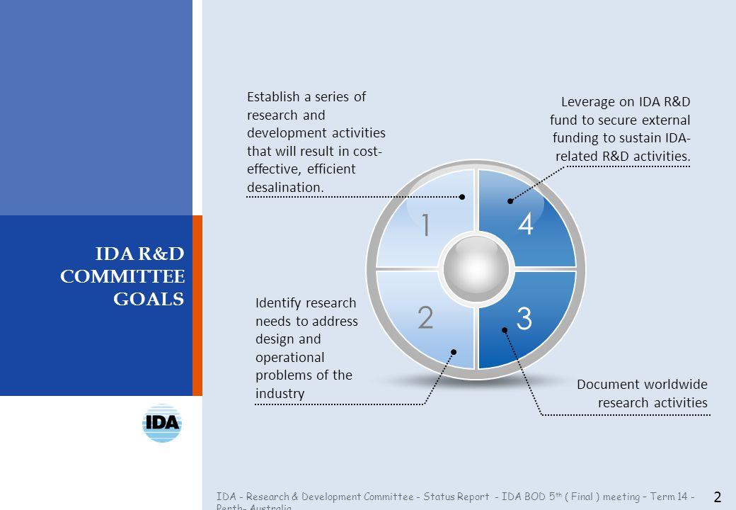 IDA - Research & Development Committee - Status Report - IDA BOD 5 th ( Final ) meeting – Term 14 - Perth- Australia IDA R&D COMMITTEE GOALS 2 Establi
