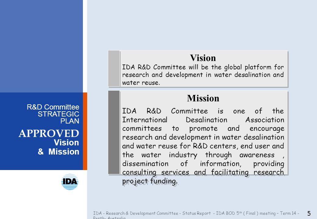 IDA - Research & Development Committee - Status Report - IDA BOD 5 th ( Final ) meeting – Term 14 - Perth- Australia R&D Committee STRATEGIC PLAN APPR
