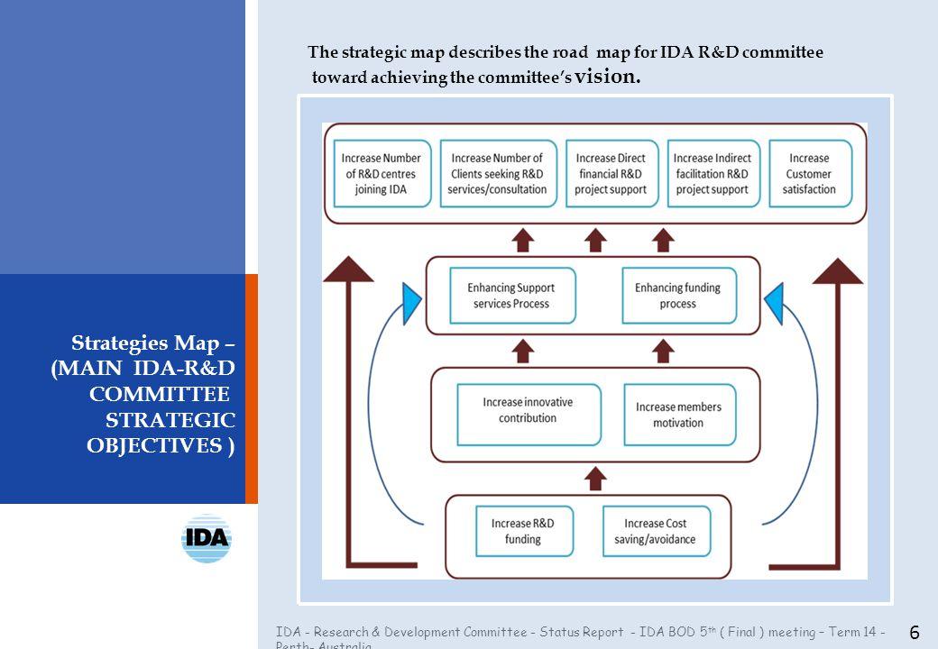 IDA - Research & Development Committee - Status Report - IDA BOD 5 th ( Final ) meeting – Term 14 - Perth- Australia Strategies Map – (MAIN IDA-R&D CO