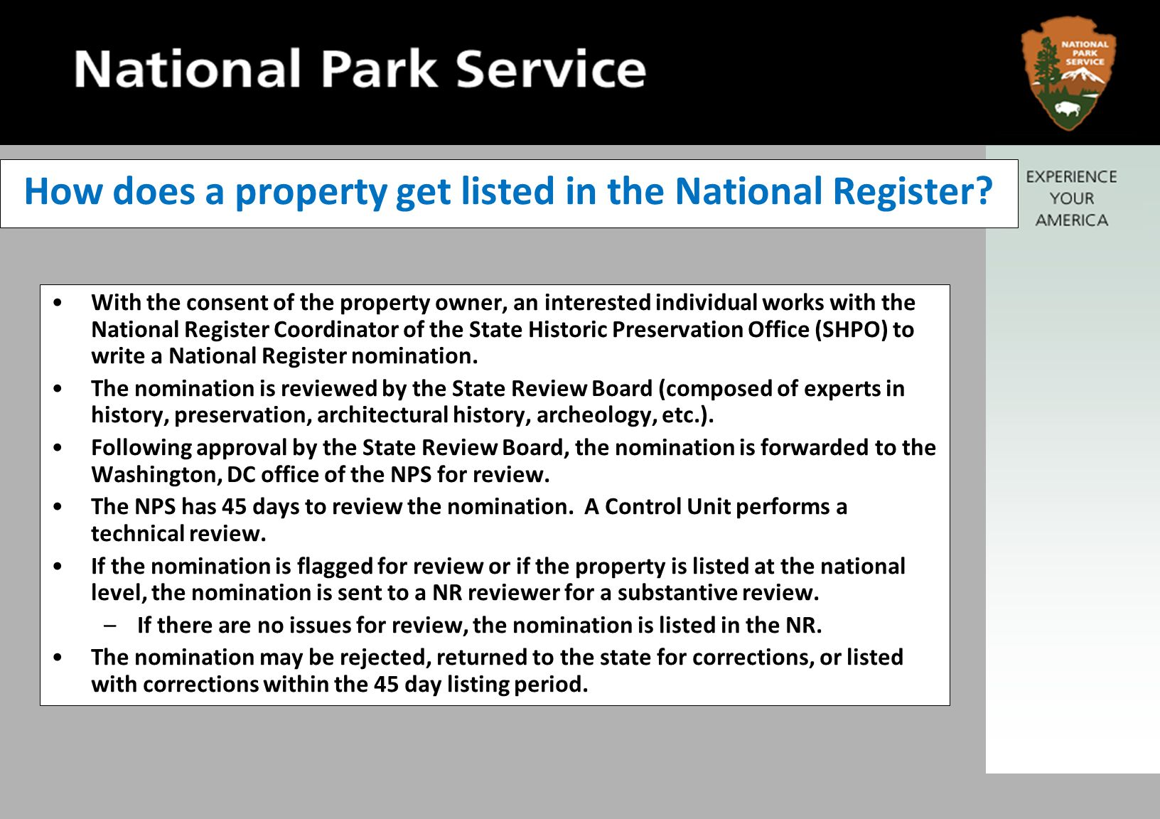 How does a property get listed in the National Register.