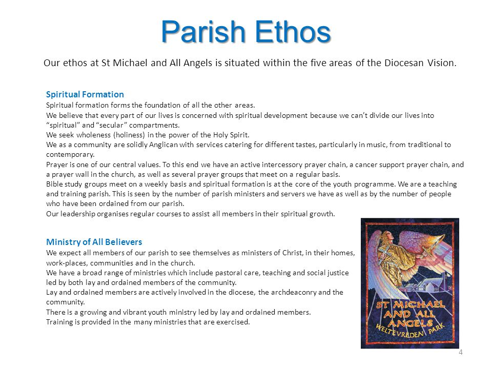 Parish Ethos Our ethos at St Michael and All Angels is situated within the five areas of the Diocesan Vision. Spiritual Formation Spiritual formation