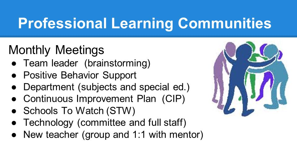Professional Learning Communities Monthly Meetings ●Team leader (brainstorming) ●Positive Behavior Support ●Department (subjects and special ed.) ●Continuous Improvement Plan (CIP) ●Schools To Watch (STW) ●Technology (committee and full staff) ●New teacher (group and 1:1 with mentor)