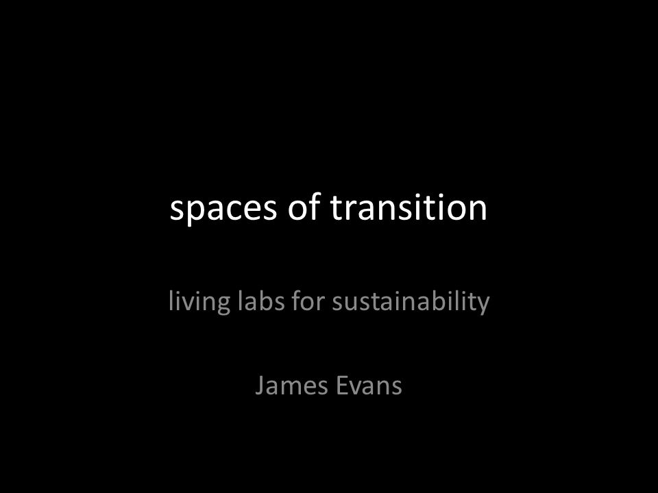 spaces of transition living labs for sustainability James Evans