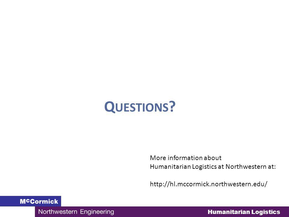 Humanitarian Logistics Q UESTIONS .