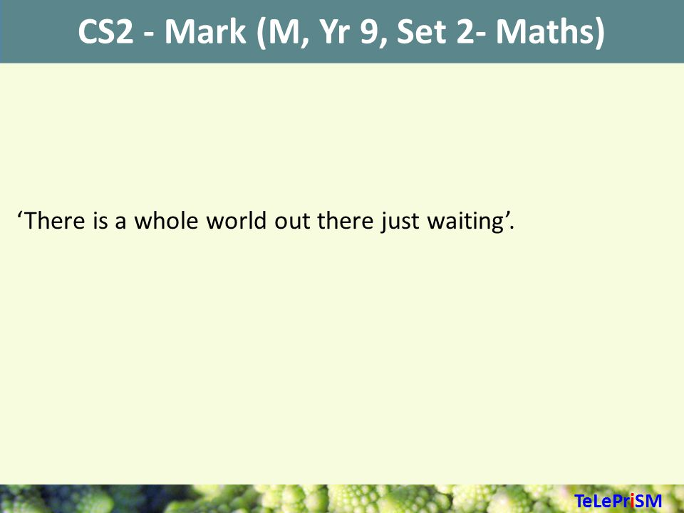 CS2 - Mark (M, Yr 9, Set 2- Maths) 'There is a whole world out there just waiting'. TeLePriSM
