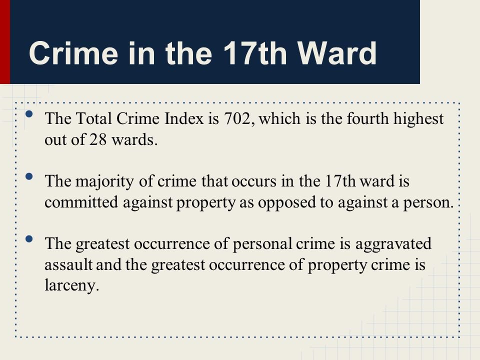 The Total Crime Index is 702, which is the fourth highest out of 28 wards.
