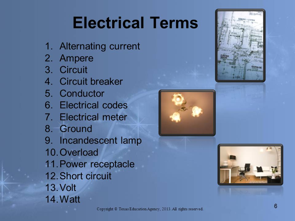 Electrical Terms 6 Copyright © Texas Education Agency, 2013.