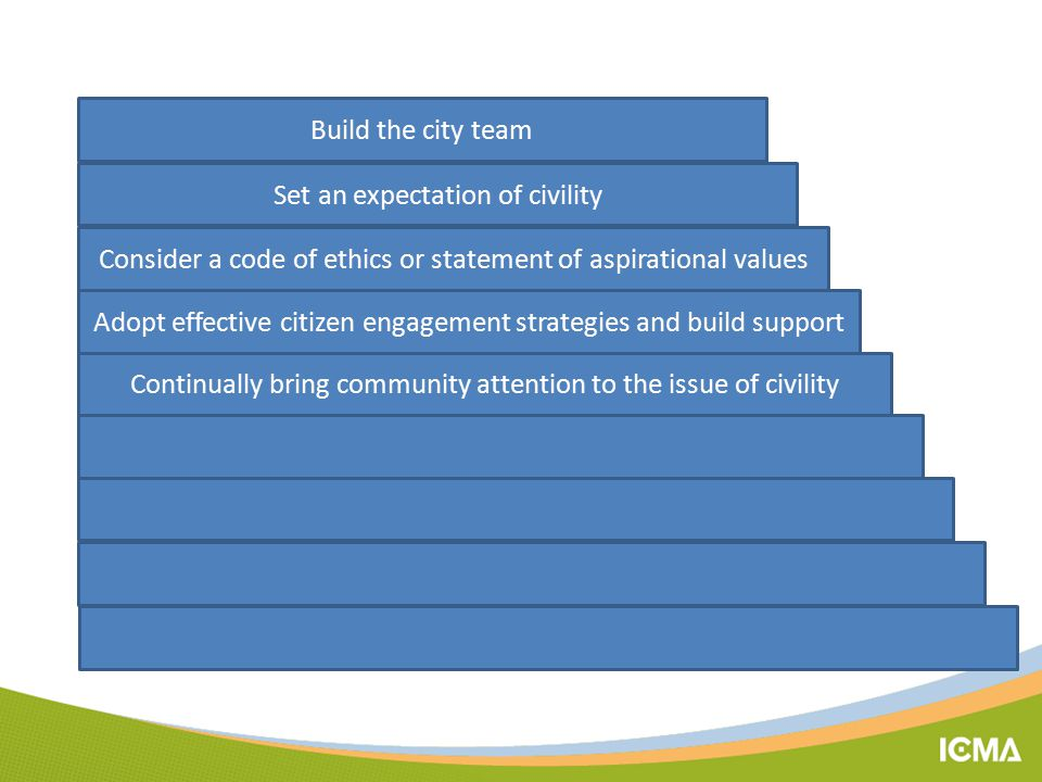 Build the city team Set an expectation of civility Continually bring community attention to the issue of civility Consider a code of ethics or statement of aspirational values Adopt effective citizen engagement strategies and build support