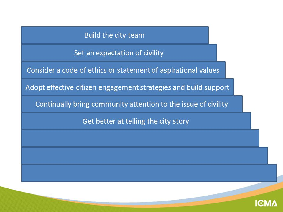 Build the city team Set an expectation of civility Get better at telling the city story Continually bring community attention to the issue of civility Consider a code of ethics or statement of aspirational values Adopt effective citizen engagement strategies and build support
