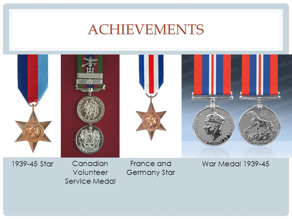 ACHIEVEMENTS 1939-45 Star Canadian Volunteer Service Medal France and Germany Star War Medal 1939-45