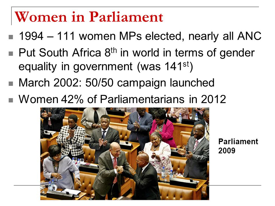 Women in Parliament 1994 – 111 women MPs elected, nearly all ANC Put South Africa 8 th in world in terms of gender equality in government (was 141 st ) March 2002: 50/50 campaign launched Women 42% of Parliamentarians in 2012 Parliament 2009