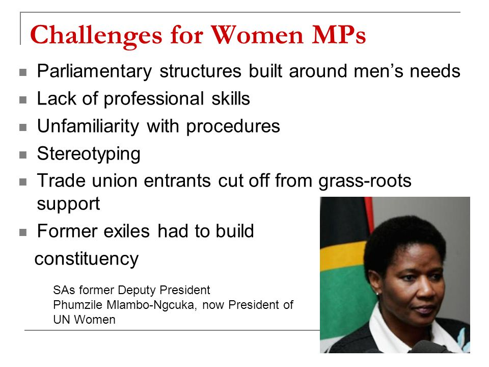 Challenges for Women MPs Parliamentary structures built around men's needs Lack of professional skills Unfamiliarity with procedures Stereotyping Trade union entrants cut off from grass-roots support Former exiles had to build constituency SAs former Deputy President Phumzile Mlambo-Ngcuka, now President of UN Women