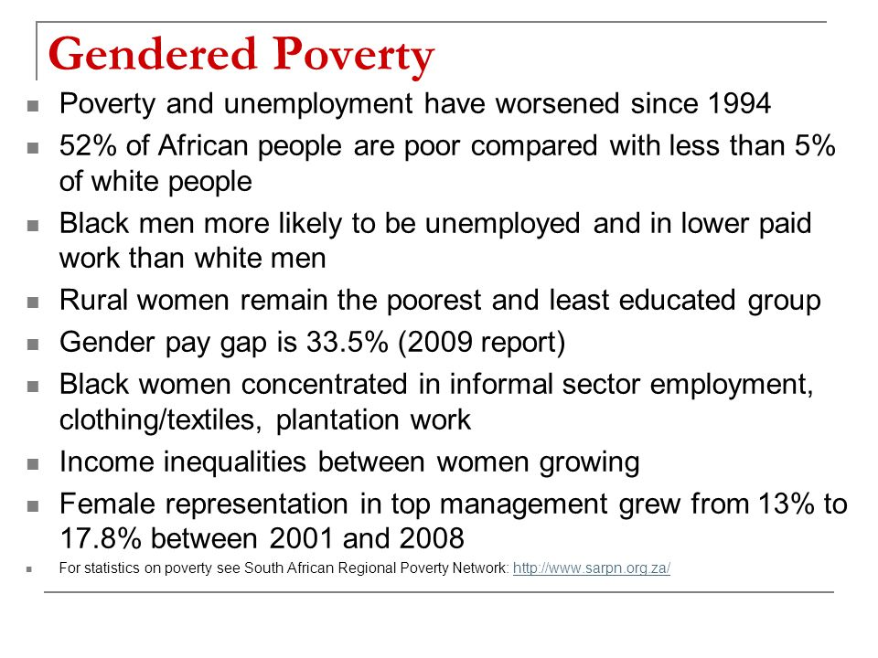 Gendered Poverty Poverty and unemployment have worsened since 1994 52% of African people are poor compared with less than 5% of white people Black men more likely to be unemployed and in lower paid work than white men Rural women remain the poorest and least educated group Gender pay gap is 33.5% (2009 report) Black women concentrated in informal sector employment, clothing/textiles, plantation work Income inequalities between women growing Female representation in top management grew from 13% to 17.8% between 2001 and 2008 For statistics on poverty see South African Regional Poverty Network: http://www.sarpn.org.za/http://www.sarpn.org.za/