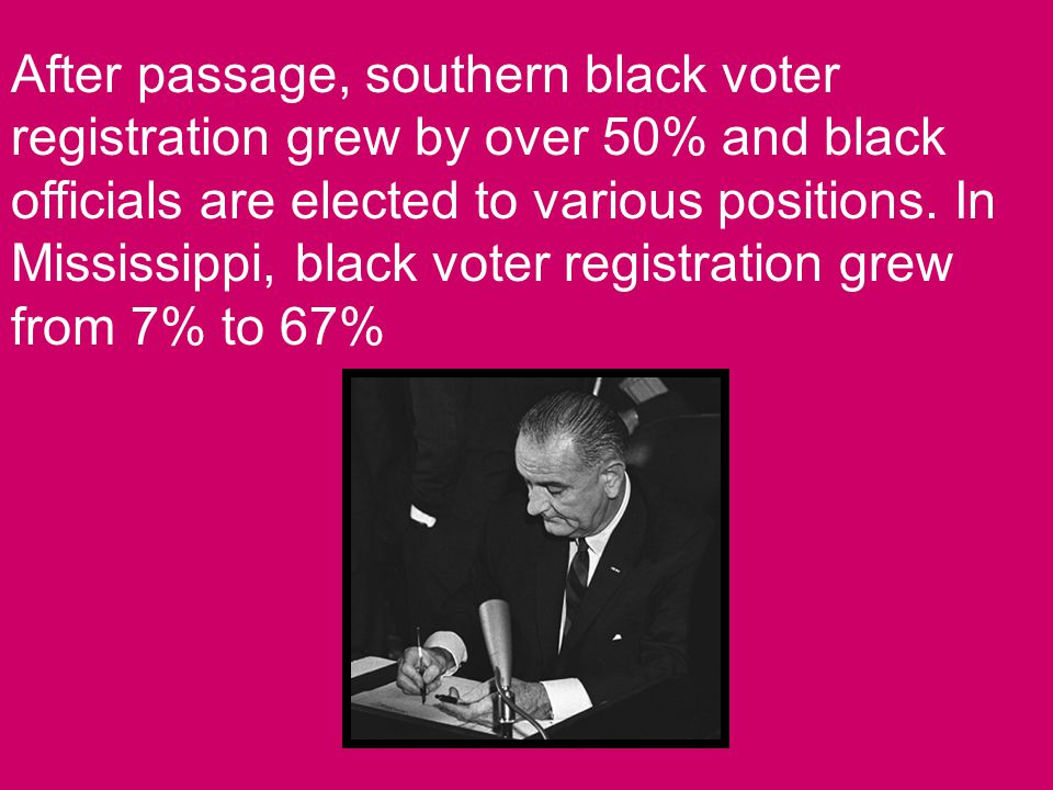 After passage, southern black voter registration grew by over 50% and black officials are elected to various positions.