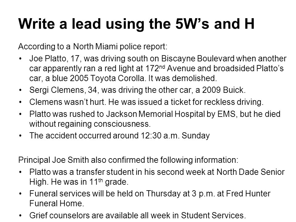 According to a North Miami police report: Joe Platto, 17, was driving south on Biscayne Boulevard when another car apparently ran a red light at 172 n
