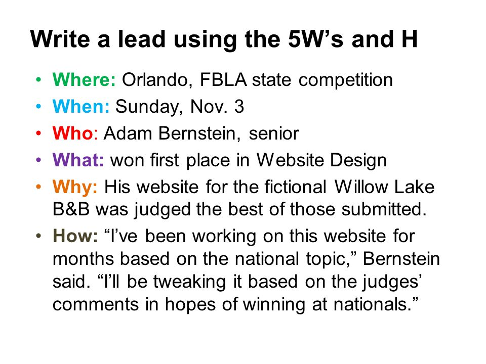 Where: Orlando, FBLA state competition When: Sunday, Nov. 3 Who: Adam Bernstein, senior What: won first place in Website Design Why: His website for t