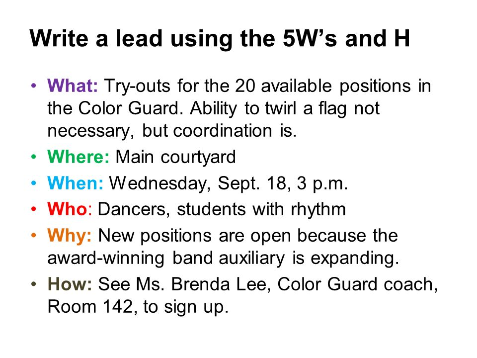 What: Try-outs for the 20 available positions in the Color Guard. Ability to twirl a flag not necessary, but coordination is. Where: Main courtyard Wh