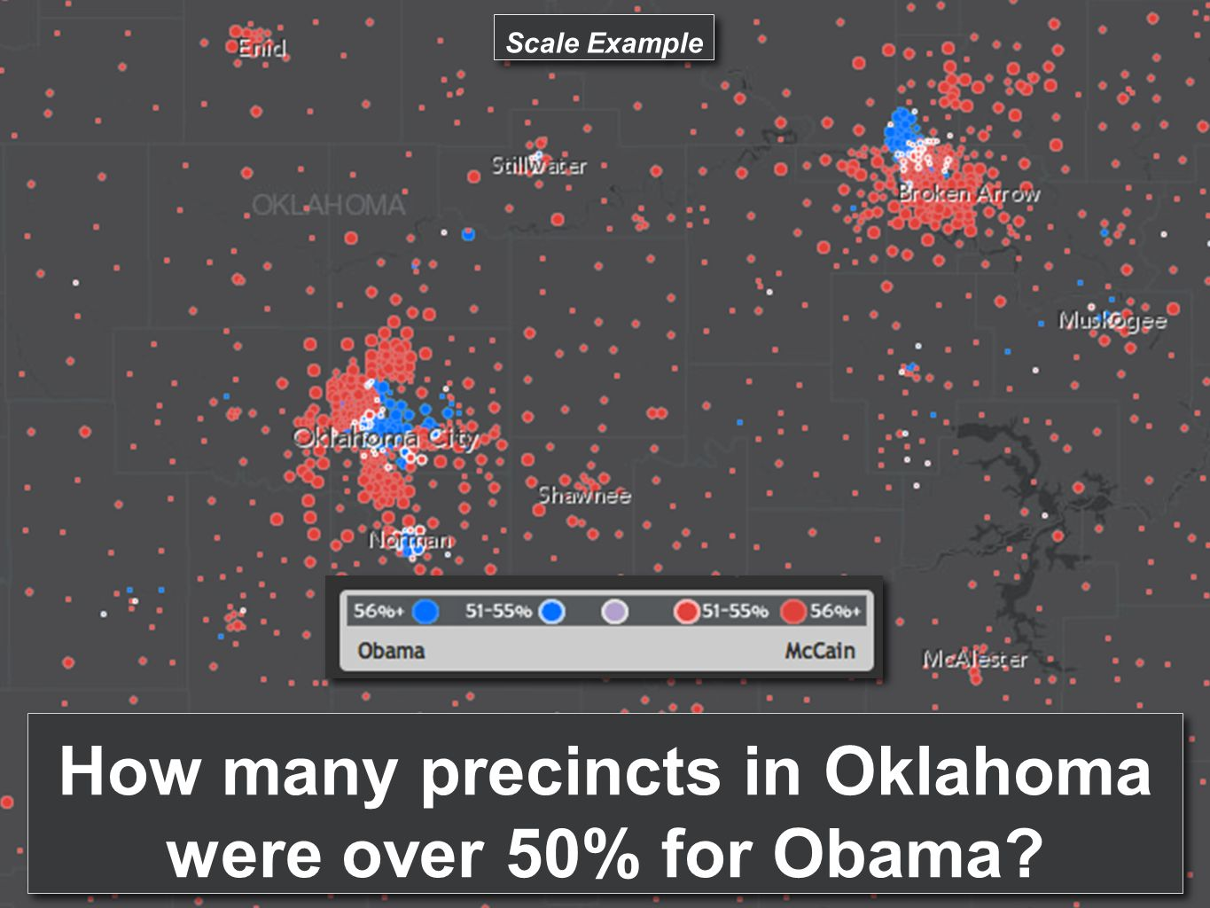 How many precincts in Oklahoma were over 50% for Obama? Scale Example