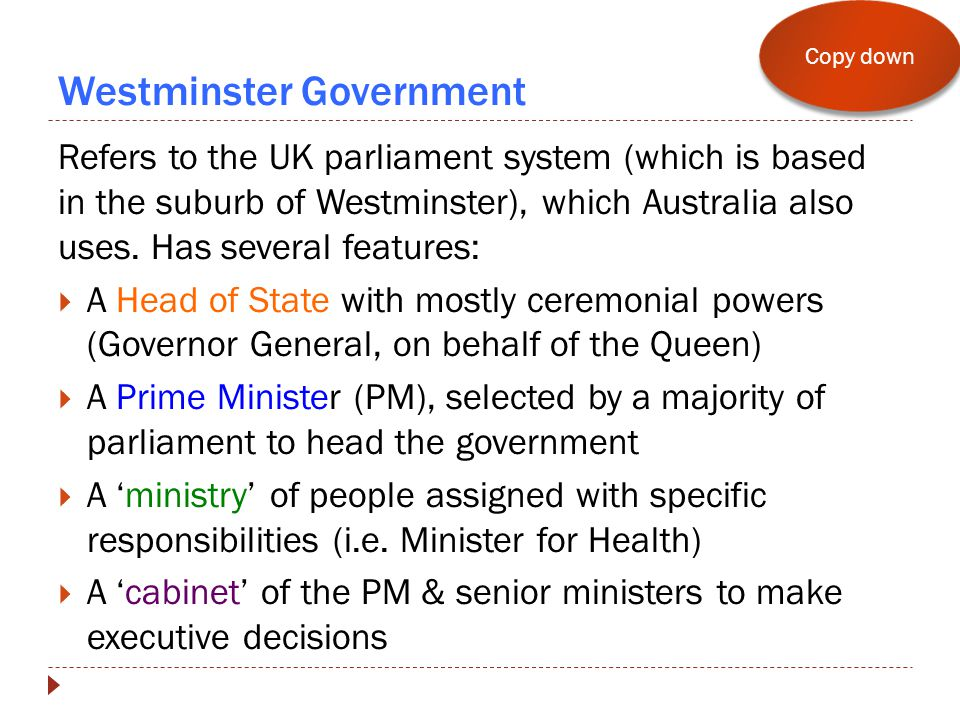 Westminster Government Refers to the UK parliament system (which is based in the suburb of Westminster), which Australia also uses.