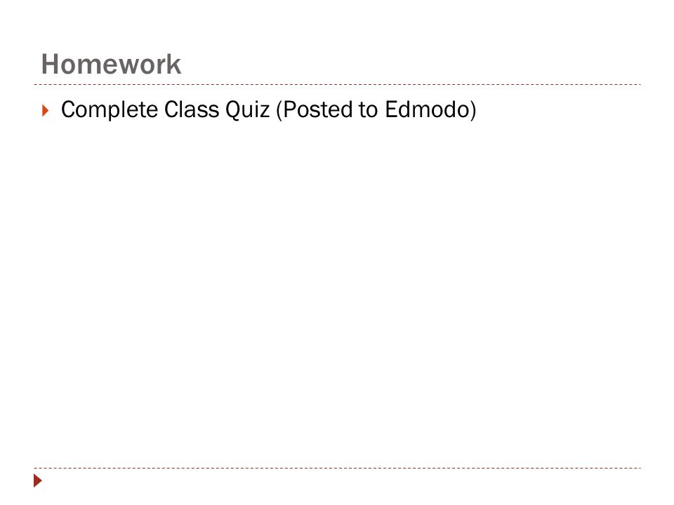 Homework  Complete Class Quiz (Posted to Edmodo)