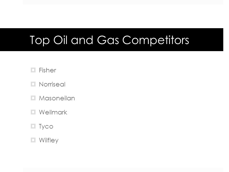 Top Oil and Gas Competitors  Fisher  Norriseal  Masoneilan  Wellmark  Tyco  Wilfley