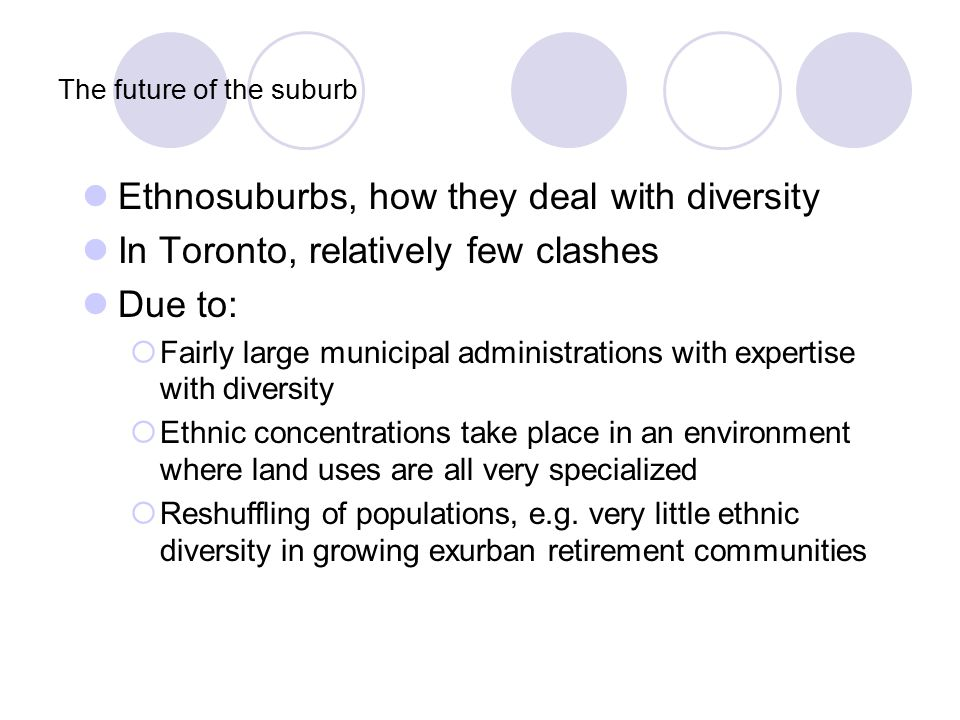 The future of the suburb Ethnosuburbs, how they deal with diversity In Toronto, relatively few clashes Due to:  Fairly large municipal administrations with expertise with diversity  Ethnic concentrations take place in an environment where land uses are all very specialized  Reshuffling of populations, e.g.