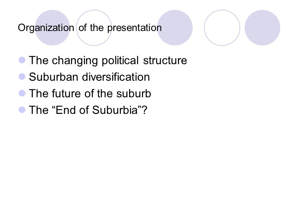 Organization of the presentation The changing political structure Suburban diversification The future of the suburb The End of Suburbia