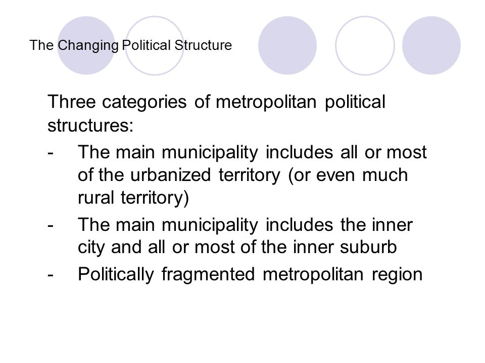 The Changing Political Structure Three categories of metropolitan political structures: -The main municipality includes all or most of the urbanized territory (or even much rural territory) -The main municipality includes the inner city and all or most of the inner suburb -Politically fragmented metropolitan region