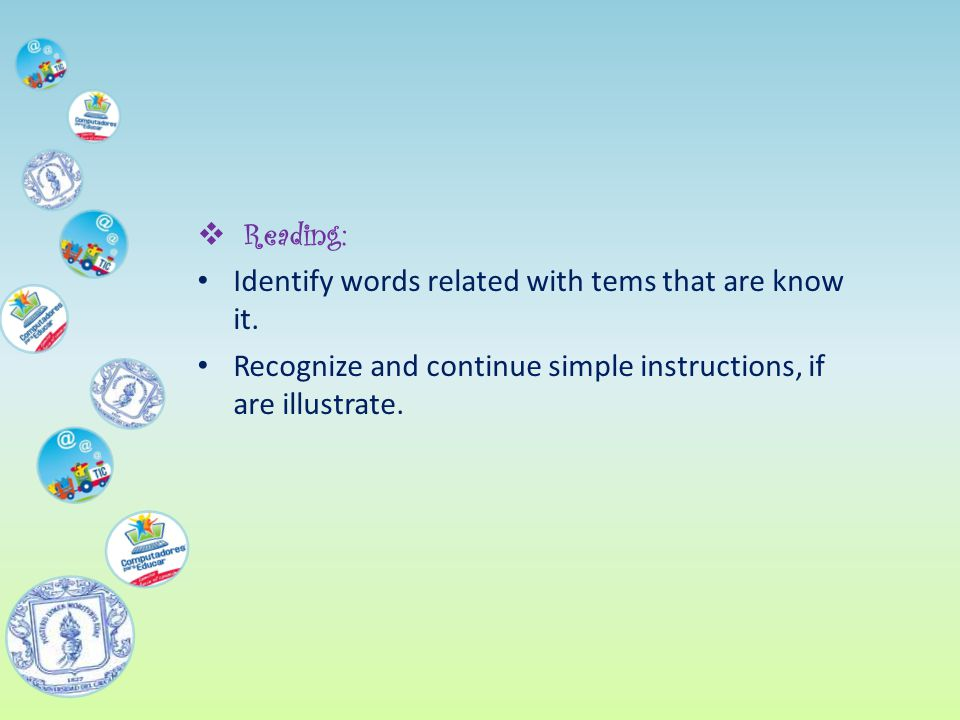  Reading: Identify words related with tems that are know it.