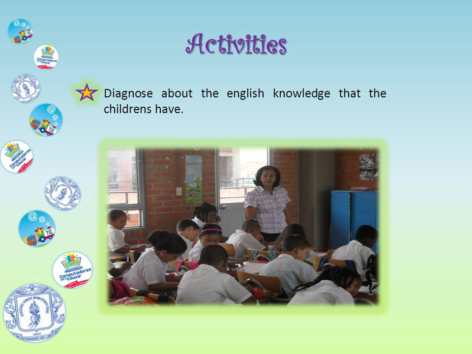 Activities Diagnose about the english knowledge that the childrens have.