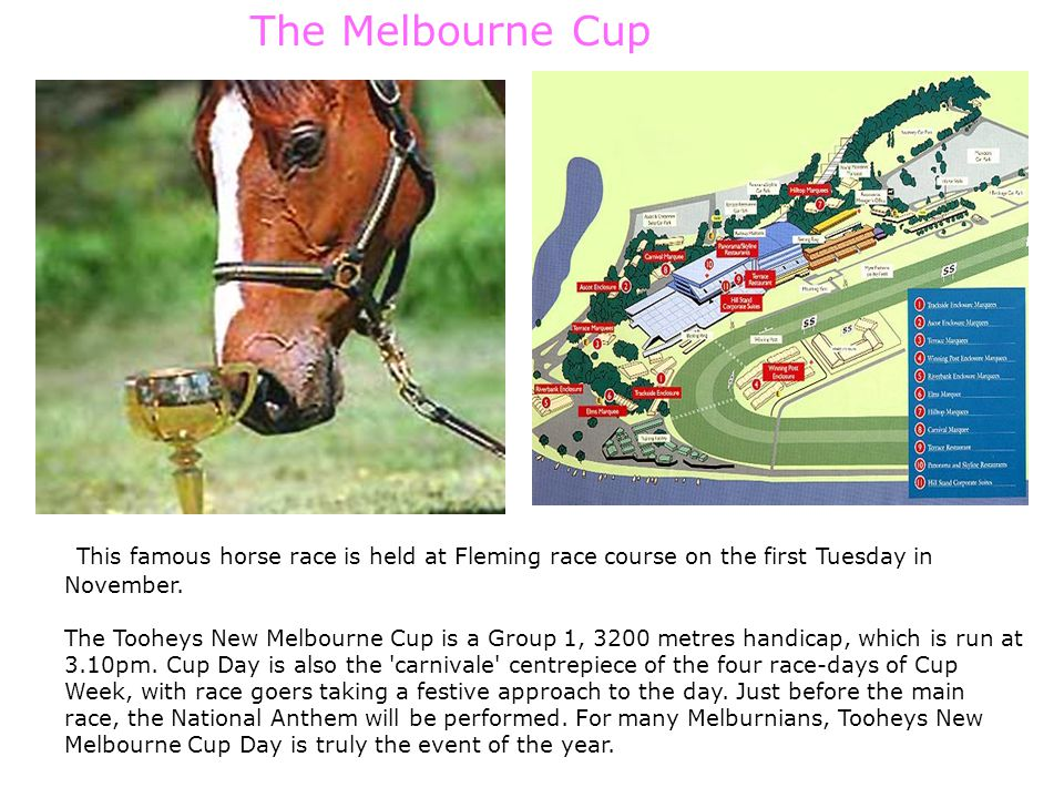 The Melbourne Cup This famous horse race is held at Fleming race course on the first Tuesday in November.