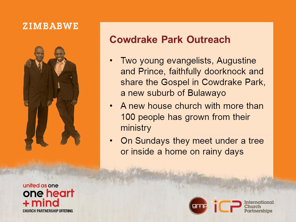 Cowdrake Park Outreach Two young evangelists, Augustine and Prince, faithfully doorknock and share the Gospel in Cowdrake Park, a new suburb of Bulawa