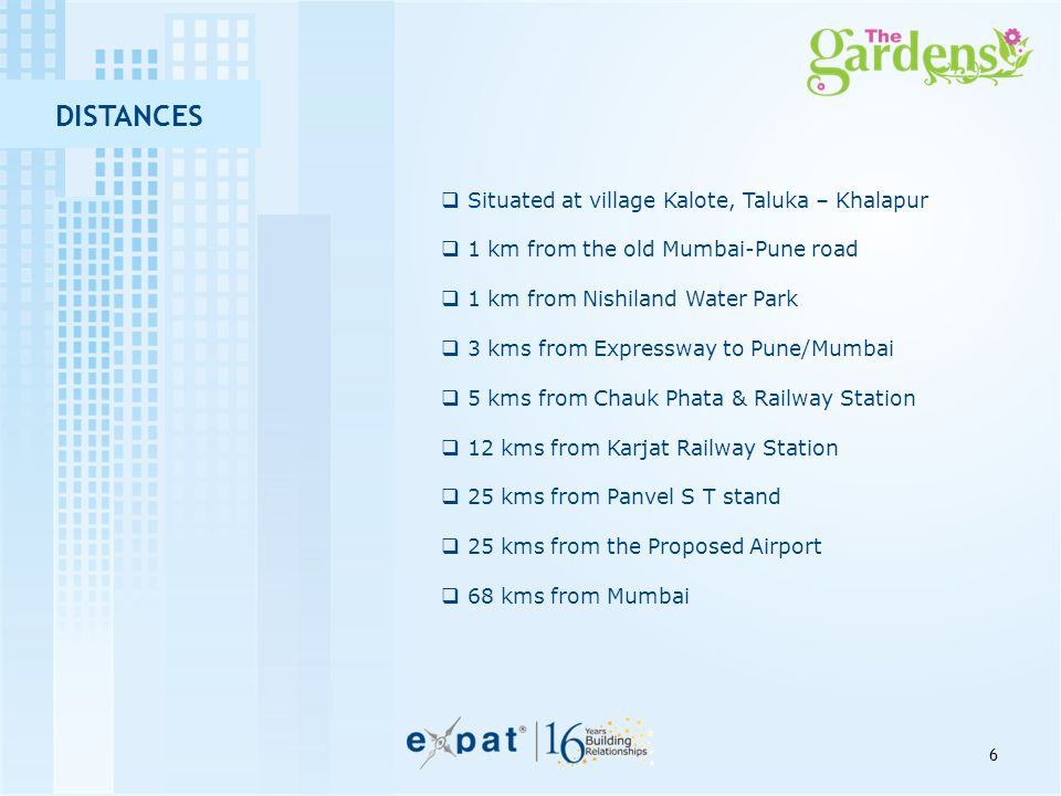 DISTANCES  Situated at village Kalote, Taluka – Khalapur  1 km from the old Mumbai-Pune road  1 km from Nishiland Water Park  3 kms from Expresswa