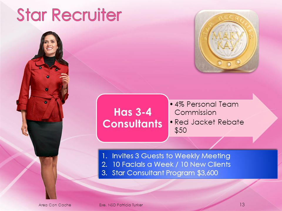 4% Personal Team Commission Red Jacket Rebate $50 Has 3-4 Consultants 1.Invites 3 Guests to Weekly Meeting 2.10 Facials a Week / 10 New Clients 3.Star Consultant Program $3,600 1.Invites 3 Guests to Weekly Meeting 2.10 Facials a Week / 10 New Clients 3.Star Consultant Program $3,600 13 Area Con Cache Exe.