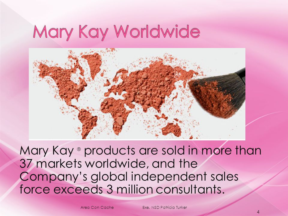 Mary Kay ® products are sold in more than 37 markets worldwide, and the Company's global independent sales force exceeds 3 million consultants.