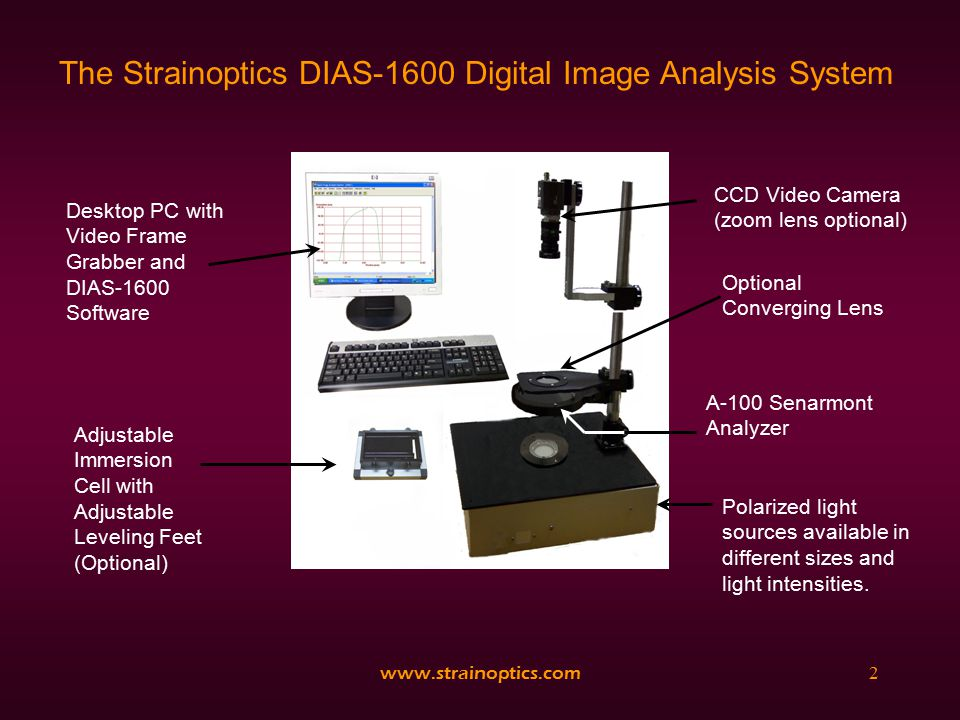 www.strainoptics.com13 Measurement and Analysis Once a measurement is taken, the line analysis results are stored as both image files and data files that may be retrieved or imported into other programs for statistical analysis or archiving.