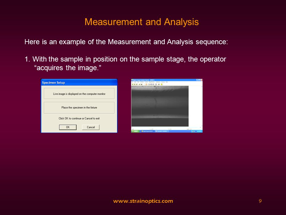 www.strainoptics.com10 Measurement and Analysis 2.