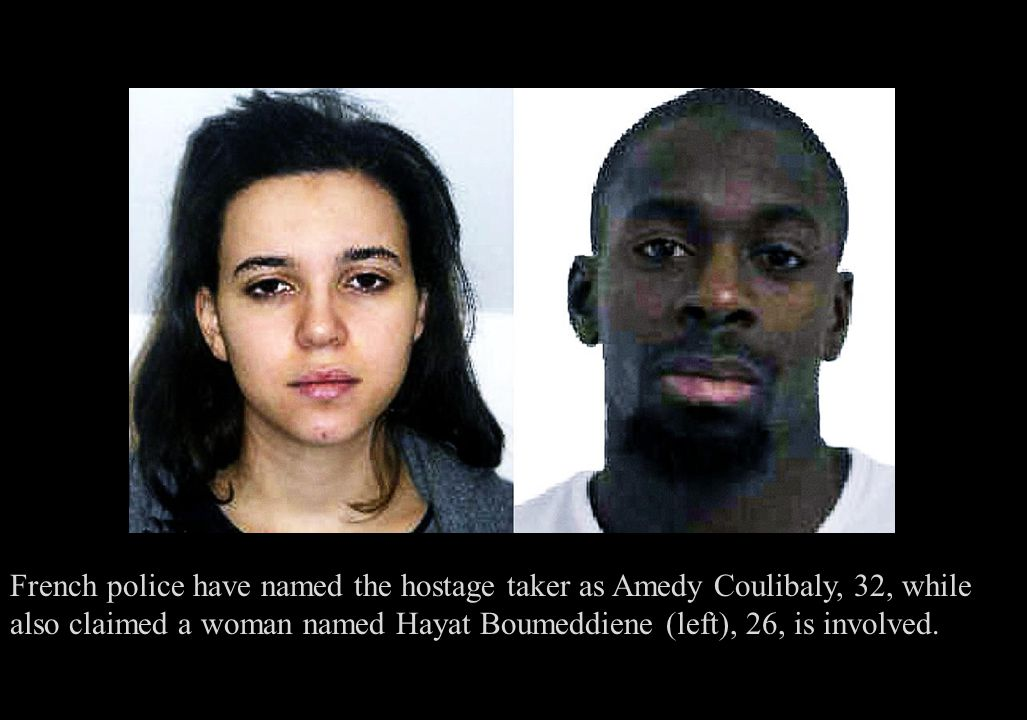 French police have named the hostage taker as Amedy Coulibaly, 32, while also claimed a woman named Hayat Boumeddiene (left), 26, is involved.
