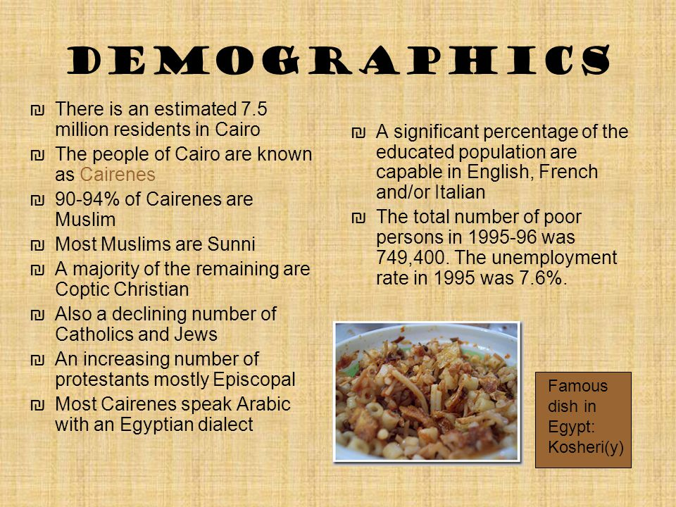 Demographics ₪There is an estimated 7.5 million residents in Cairo ₪The people of Cairo are known as Cairenes ₪90-94% of Cairenes are Muslim ₪Most Mus