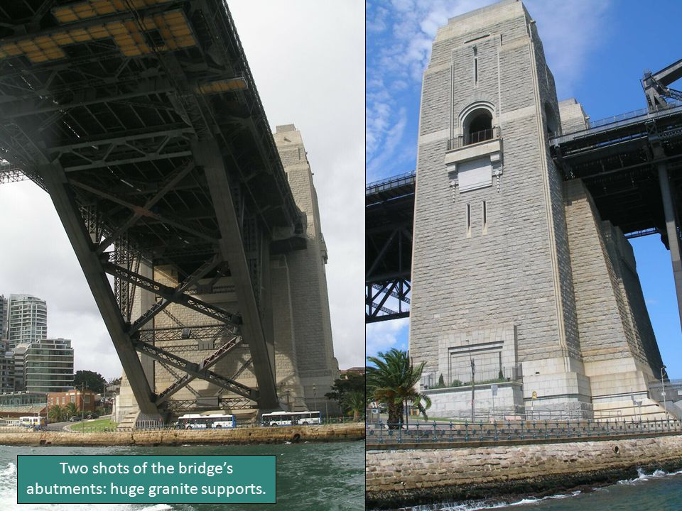 Two shots of the bridge's abutments: huge granite supports.