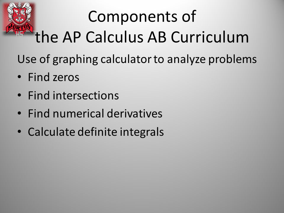 Components of the AP Calculus AB Curriculum Use of graphing calculator to analyze problems Find zeros Find intersections Find numerical derivatives Calculate definite integrals