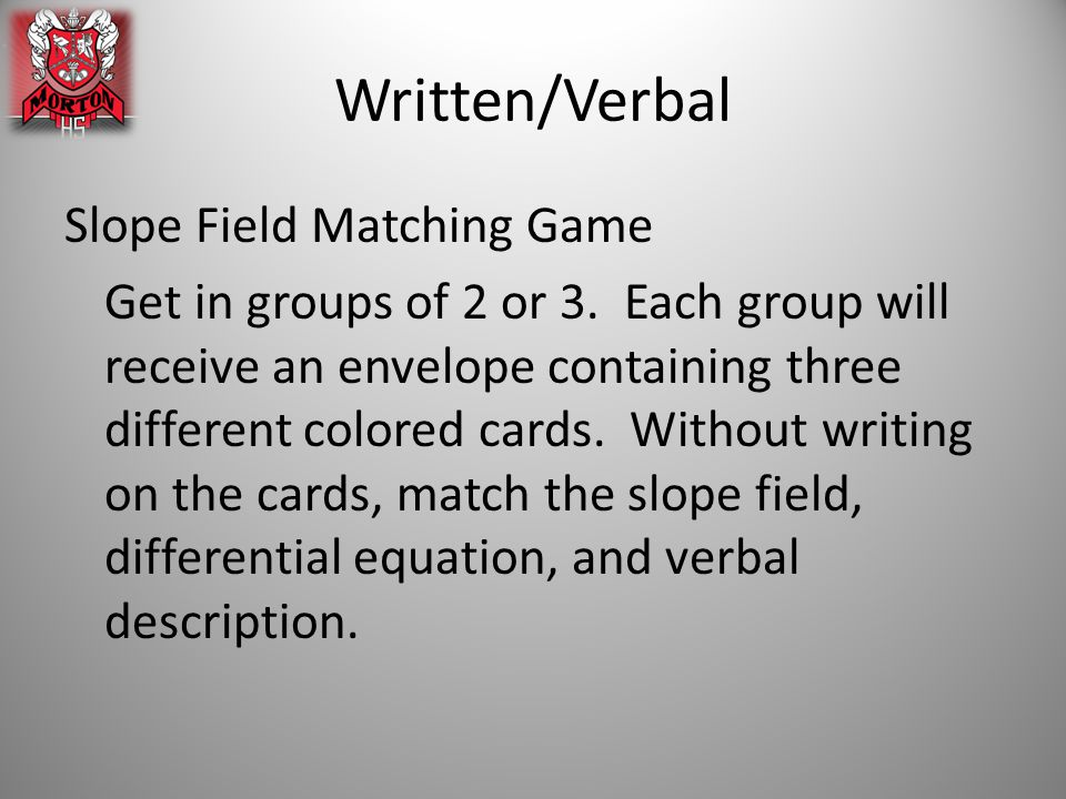 Written/Verbal Slope Field Matching Game Get in groups of 2 or 3.